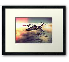 3 Starfighters flying over the ocean - retro Framed Print