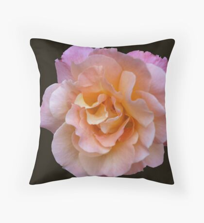 Peach and Pink Rose Throw Pillow