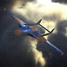 de haviiland Vampire breaking through the clouds at dusk by MarkSeb