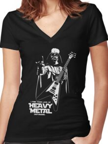 Funny Darth Vader Heavy Metal Women's Fitted V-Neck T-Shirt