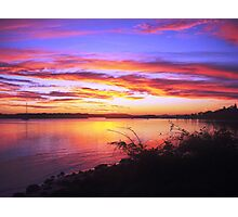 Burnt Red River Training Wall Sunset Photographic Print