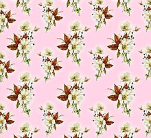 Pretty Floral Pattern on Rose Pink Background by Greenbaby
