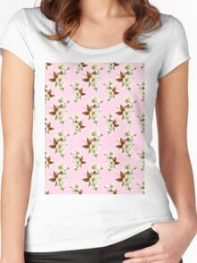 Pretty Floral Pattern on Rose Pink Background Women's Fitted Scoop T-Shirt