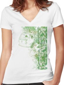 Volkswagen Kombi Tee shirt - Grunge Green Women's Fitted V-Neck T-Shirt