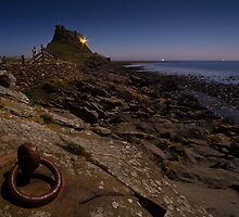 Lindisfarne Castle by Moonlight by David Lewins