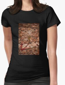 Red ivy hedge creeper on wall Womens Fitted T-Shirt