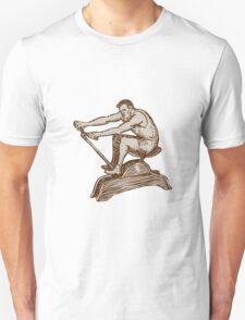 Athlete Exercising Vintage Rowing Machine Etching T-Shirt