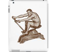 Athlete Exercising Vintage Rowing Machine Etching iPad Case/Skin