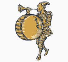 Clown With Trumpet and Drum Marching Etching by patrimonio