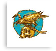 Crow Perching Crowbar Skull Barbed Wire Drawing Canvas Print