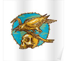 Crow Perching Crowbar Skull Barbed Wire Drawing Poster