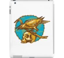 Crow Perching Crowbar Skull Barbed Wire Drawing iPad Case/Skin