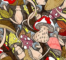 Mushroom Pattern by retrojellyfish