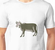 Dairy Cow Side View Woodcut Unisex T-Shirt