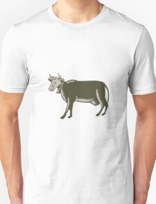 Dairy Cow Side View Woodcut T-Shirt