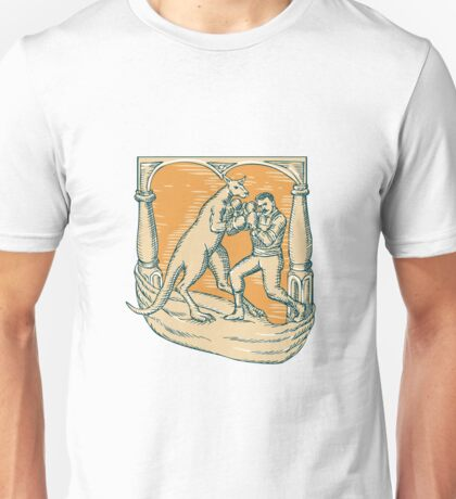 Kangaroo Boxing Man Etching Unisex T-Shirt