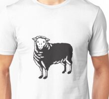 Sheep Side View Woodcut Unisex T-Shirt