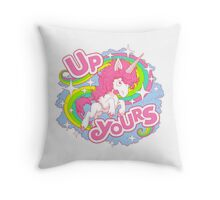 Up Yours Unicorn Throw Pillow