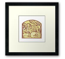 Sheep Side Pasture Tree Etching Framed Print