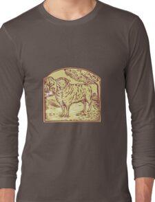 Sheep Side Pasture Tree Etching Long Sleeve T-Shirt
