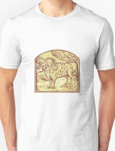 Sheep Side Pasture Tree Etching T-Shirt