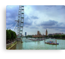London Icons - The Eye, and Westminster Canvas Print