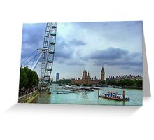 London Icons - The Eye, and Westminster Greeting Card