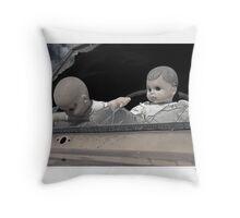 'Dolls shouldn't drive...' Catavina, Baja Peninsula, Mexico. Throw Pillow