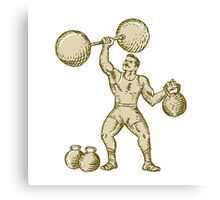 Strongman Lifting Barbell Kettlebell Etching Canvas Print