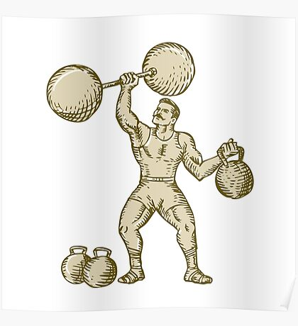Strongman Lifting Barbell Kettlebell Etching Poster