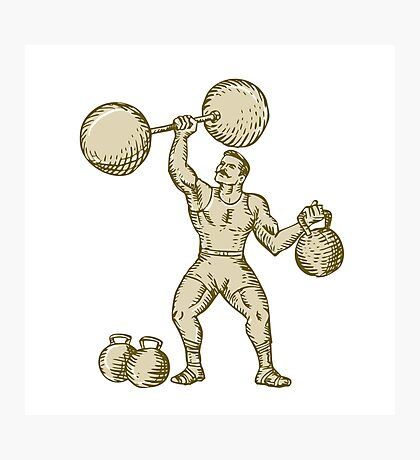 Strongman Lifting Barbell Kettlebell Etching Photographic Print