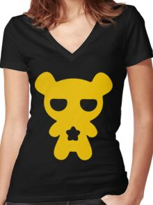 Lazy Bear Yellow Attention Women's Fitted V-Neck T-Shirt