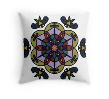 Stained Glass Flower Throw Pillow