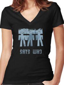 three men ...  Women's Fitted V-Neck T-Shirt