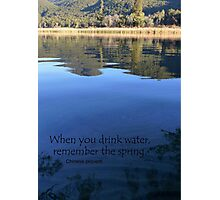 When you drink water, remember the spring. Chinese proverb Photographic Print