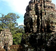 The Faces of Bayon - Angkor, Cambodia.  by Tiffany Lenoir
