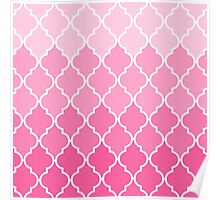 Girly Pink vintage classic Quatrefoil Pattern Poster