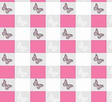Vintage gray butterfly silhouette checker pattern by Maria Fernandes