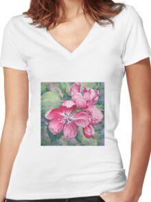 Flower of Crab-apple Women's Fitted V-Neck T-Shirt