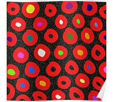 Red black abstract polka dots faux glitter Poster