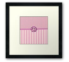 Vintage girly pink cute bow stripes pattern Framed Print