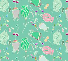 vintage abstract pink green floral pattern by Maria Fernandes