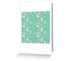 vintage abstract pink green floral pattern Greeting Card