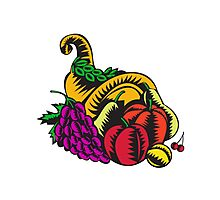 Cornucopia Fruit Harvest Woodcut Photographic Print