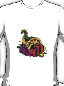 Cornucopia Fruit Harvest Woodcut T-Shirt