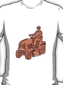 Gardener Ride-On Mower Etching T-Shirt