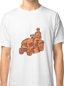 Gardener Ride-On Mower Etching Classic T-Shirt