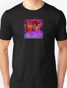 Beautiful City in Sunset Red, Pink, Gold and Purple T-Shirt