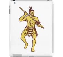 Maori Chief Warrior Holding Taiaha Etching iPad Case/Skin