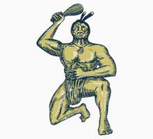 Maori Warrior Wielding Patu Kneeling Etching by patrimonio